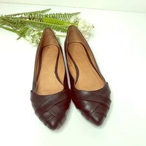 Aldo black leather flats pointed toe shoes